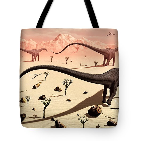 A Small Group Of Diplodocus Sauropod Tote Bag by Mark Stevenson