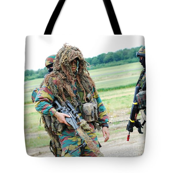 A Sniper Of The Belgian Army Together Tote Bag by Luc De Jaeger