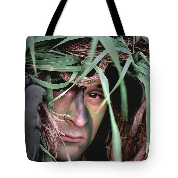 A Soldier Camouflaged In His Ghillie Tote Bag by Stocktrek Images
