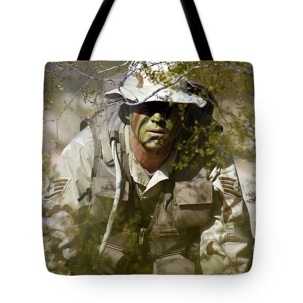 A Soldier Practices Evasion Maneuvers Tote Bag by Stocktrek Images