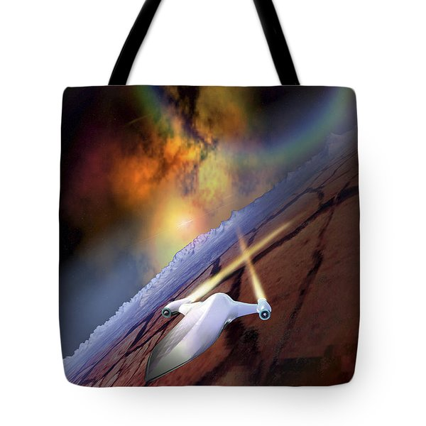 A Spacecraft Flys Over Another World Tote Bag