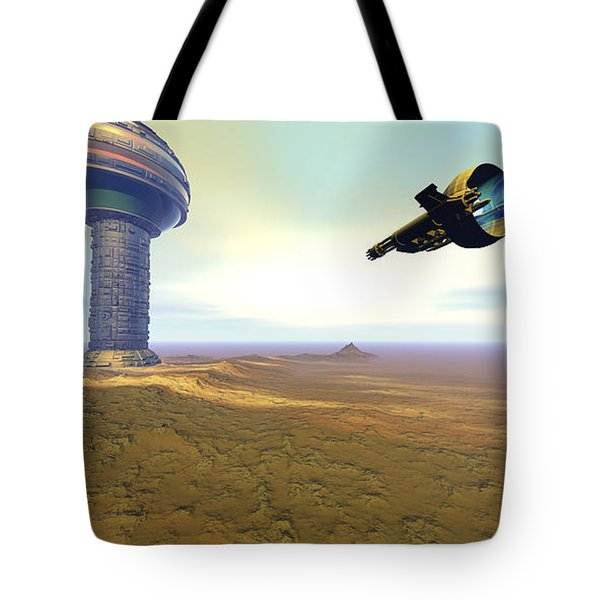 A Spacecraft Nears A Spaceport Tote Bag by Corey Ford