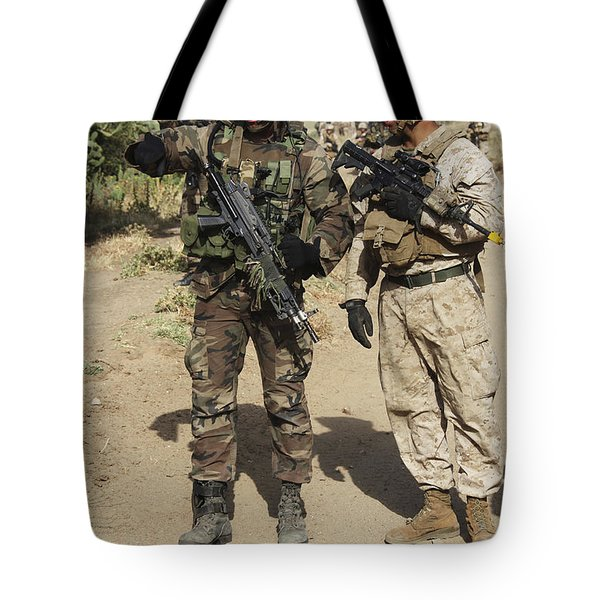 A Spanish Marine Points Out An Tote Bag by Stocktrek Images
