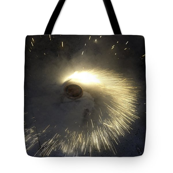 A Spinning Firecracker During Diwali Celebrations Tote Bag by Ashish Agarwal