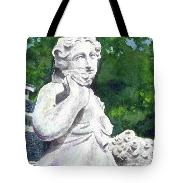 Tote Bag featuring the painting A Statue At The Wellers Carriage House -1 by Yoshiko Mishina