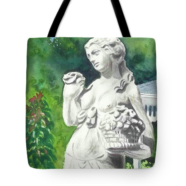 Tote Bag featuring the painting A Statue At The Wellers Carriage House -2 by Yoshiko Mishina