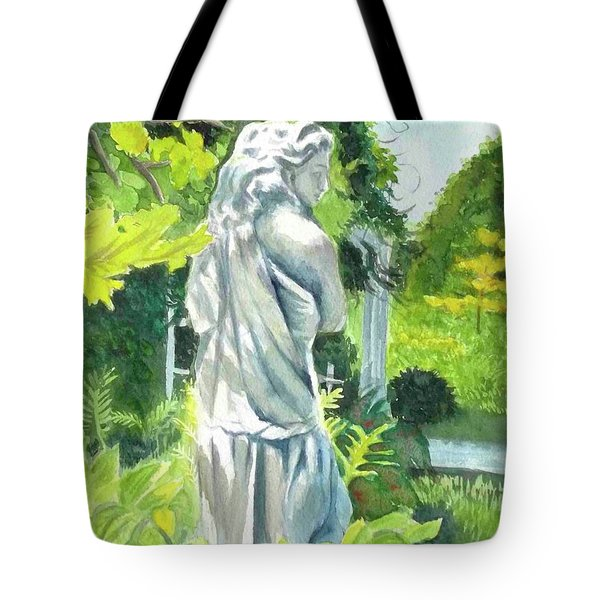 Tote Bag featuring the painting A Statue At The Wellers Carriage House -3 by Yoshiko Mishina