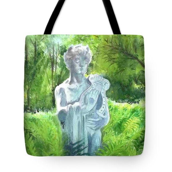 Tote Bag featuring the painting A Statue At The Wellers Carriage House -4 by Yoshiko Mishina