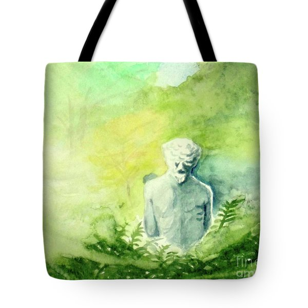 Tote Bag featuring the painting A Statue At The Wellers Carriage House -5 by Yoshiko Mishina