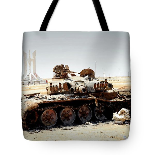 A T-80 Tank Destroyed By Nato Forces Tote Bag by Andrew Chittock