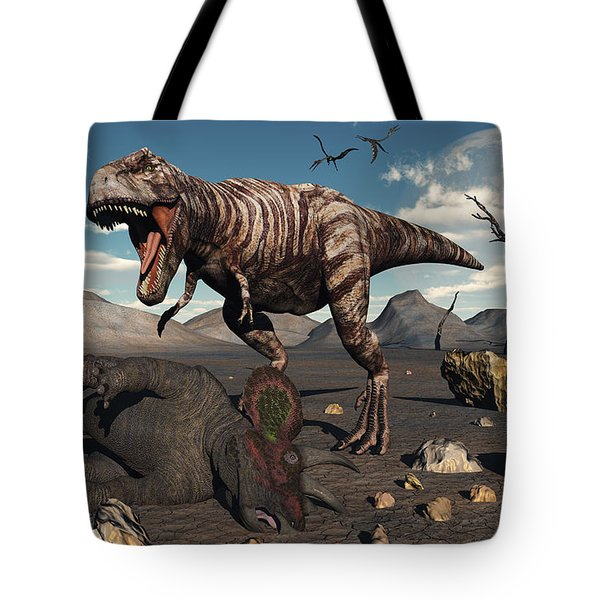 A T. Rex Is About To Make A Meal Tote Bag by Mark Stevenson