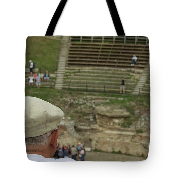A Tourist And The Ancient Theater Of Taormina Tote Bag