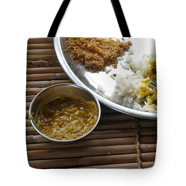 Tote Bag featuring the photograph A Typical Plate Of Indian Rajasthani Food On A Bamboo Table by Ashish Agarwal