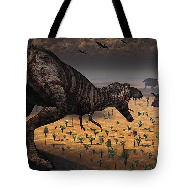 A Tyrannosaurus Rex Spots Two Passing Tote Bag by Mark Stevenson