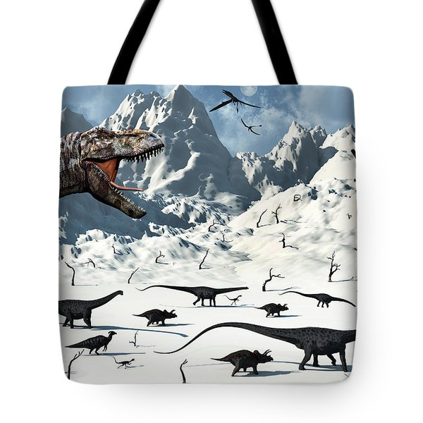 A  Tyrannosaurus Rex Stalks A Mixed Tote Bag by Mark Stevenson