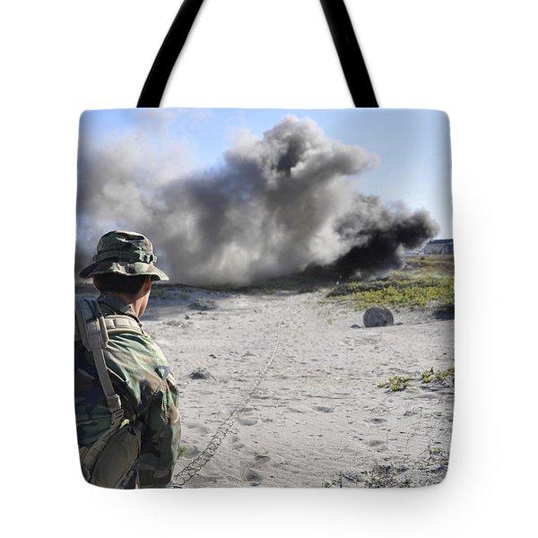 A U.s. Navy Student In Basic Underwater Tote Bag by Stocktrek Images