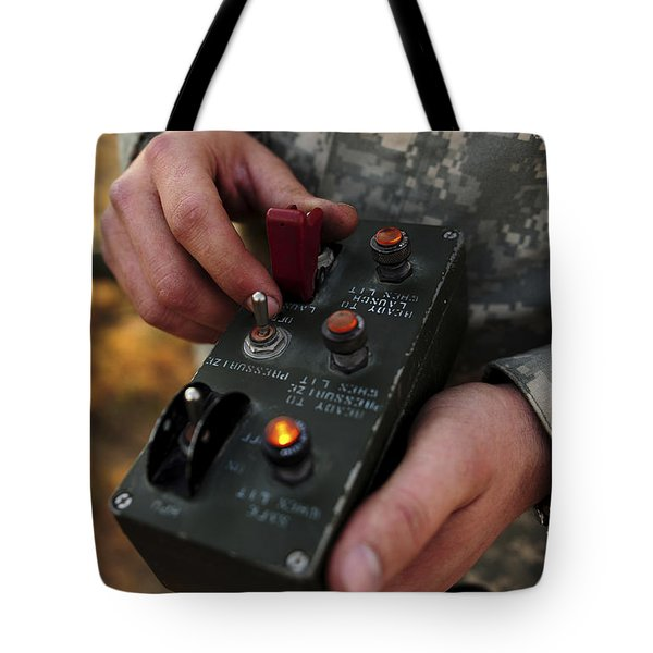 A U.s. Soldier Hits The Button Tote Bag by Stocktrek Images