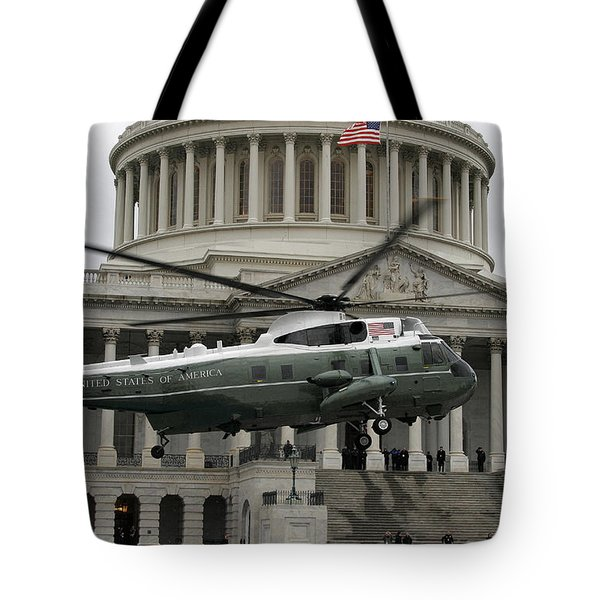 A Vh-60 Helicopter Lands In Front Tote Bag by Stocktrek Images