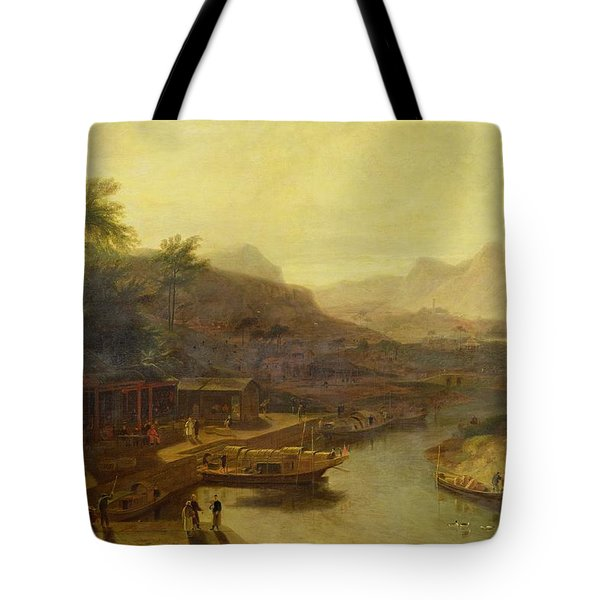 A View In China - Cultivating The Tea Plant Tote Bag by William Daniell