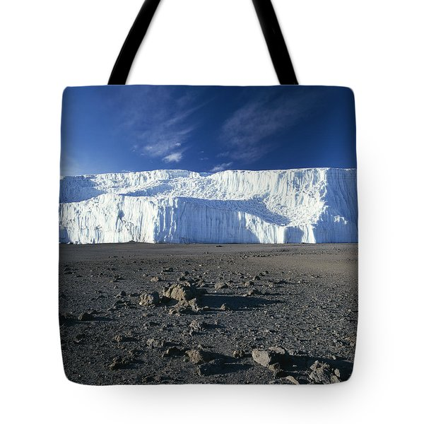 A View Of Mount Kilimanjaros Summit Tote Bag by David Pluth