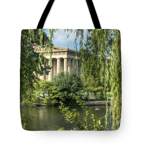A View Of The Parthenon 5 Tote Bag by Douglas Barnett