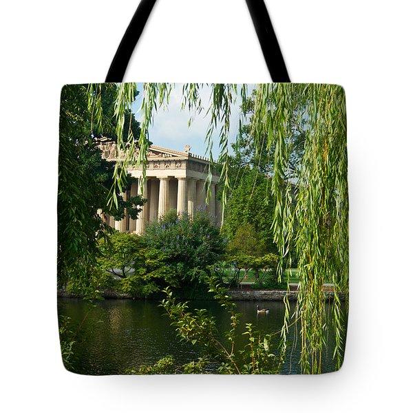 A View Of The Parthenon 9 Tote Bag by Douglas Barnett
