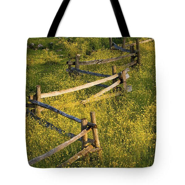 A Wooden Rail Fence Surrounded By Tote Bag by David Chapman