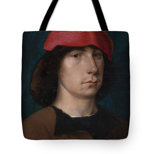 A Young Man In A Red Cap Tote Bag by Michiel Sittow