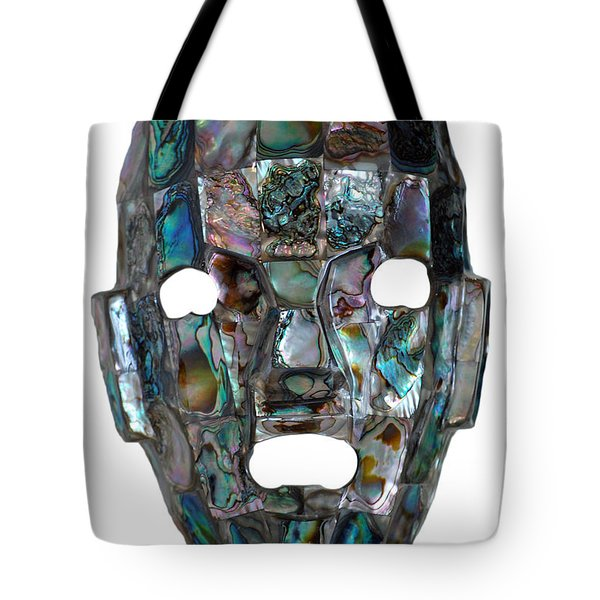 Tote Bag featuring the photograph Abalone Mayan Mask by Shawn O'Brien