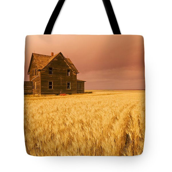Abandoned Farm House, Wind-blown Durum Tote Bag by Dave Reede
