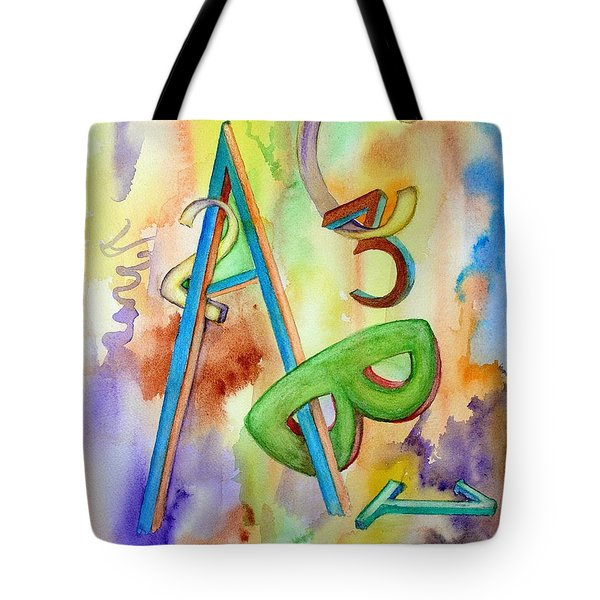 Tote Bag featuring the painting Abc And 123 by Mary Kay Holladay