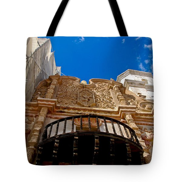 Above The Front Entry San Xavier Mission Tote Bag by Jon Berghoff