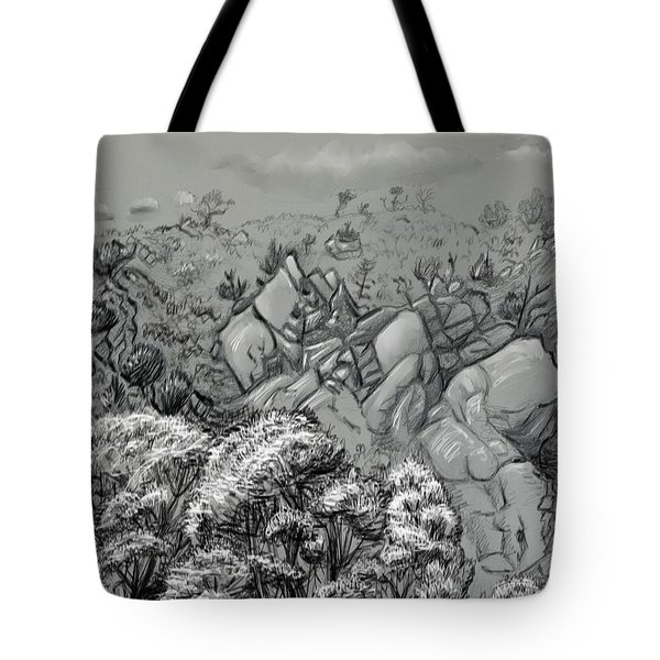 Above The Treetops Field Sketch Tote Bag by Dawn Senior-Trask