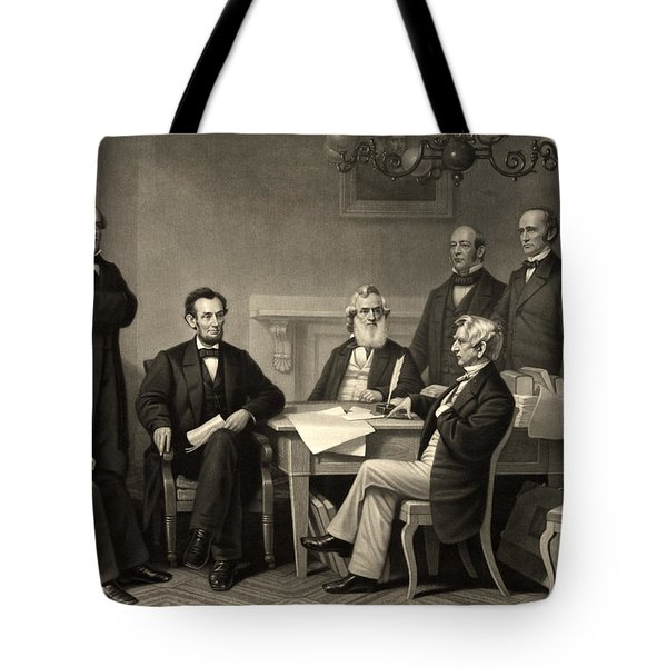 Abraham Lincoln At The First Reading Of The Emancipation Proclamation - July 22 1862 Tote Bag by International  Images