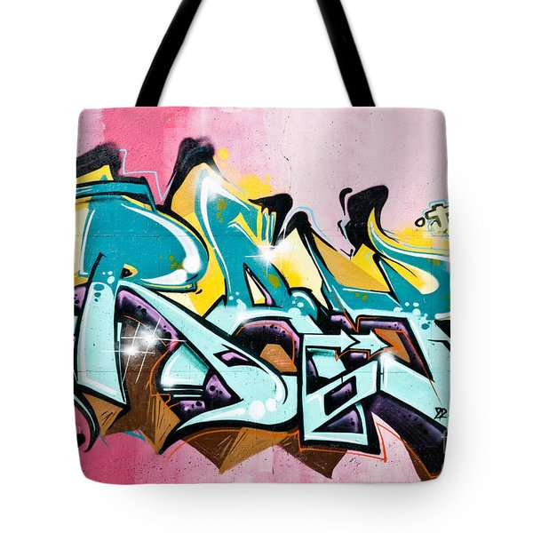 Tote Bag featuring the painting Absrtact  Graffiti On The  Textured  Wall by Yurix Sardinelly