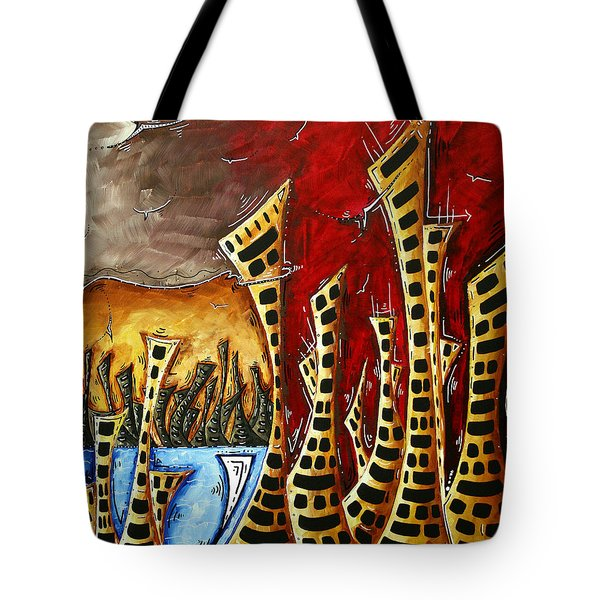 Abstract Art Contemporary Coastal Cityscape 3 Of 3 Capturing The Heart Of The City II By Madart Tote Bag by Megan Duncanson