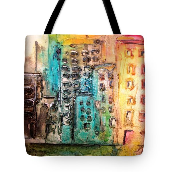 Tote Bag featuring the painting Abstract Cityscape by Mary Kay Holladay