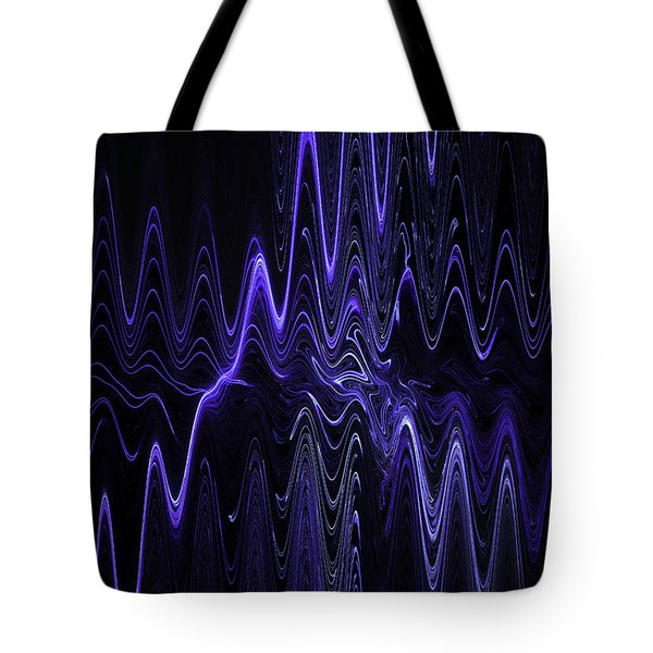 Abstract Digital Blue Waves Fractal Image Black Computer Art Tote Bag