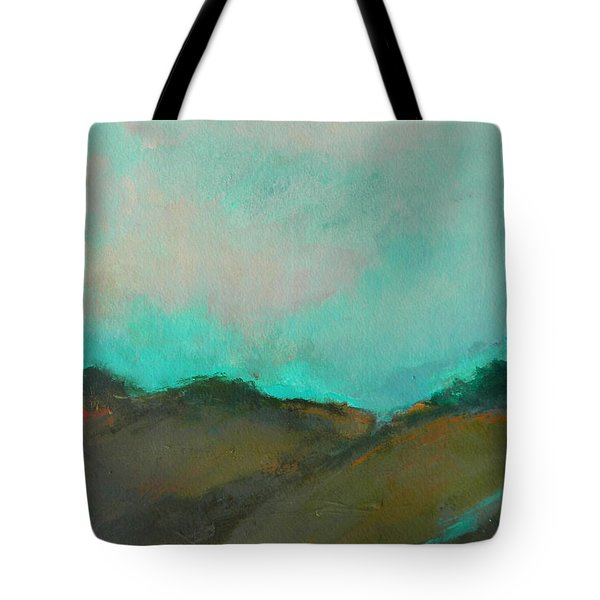 Abstract Landscape - Turquoise Sky Tote Bag by Kathleen Grace