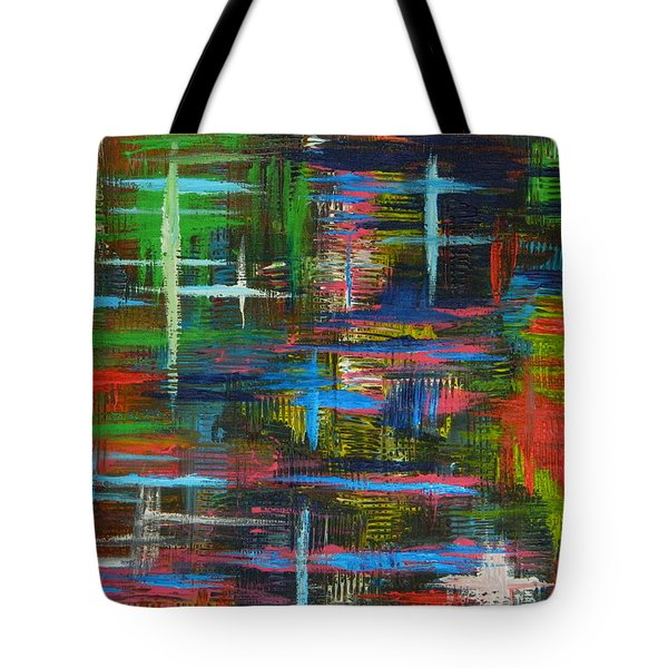 Tote Bag featuring the painting Abstract Lines by Everette McMahan jr
