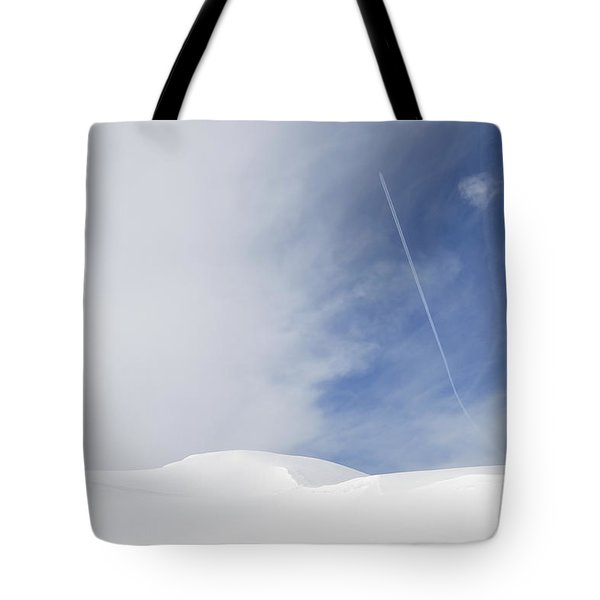 Abstract Minimalist Winter Landscape - Snow And Blue Sky Tote Bag by Matthias Hauser