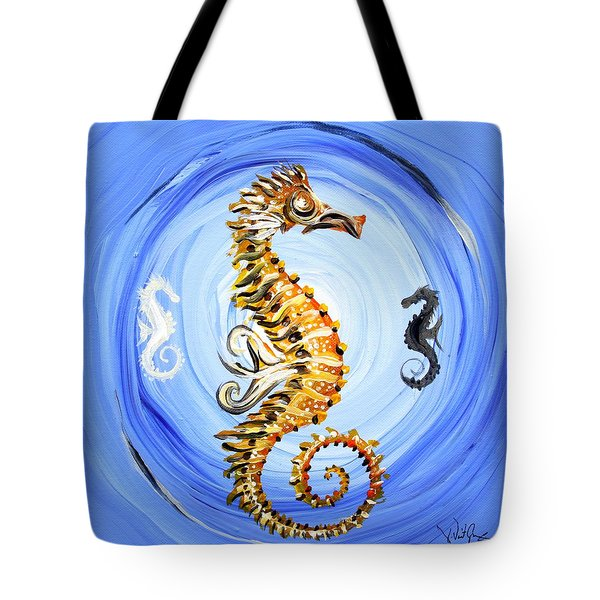 Abstract Sea Horse Tote Bag by J Vincent Scarpace
