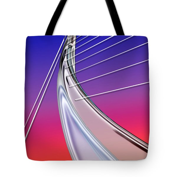 Abstract Wired Steel Arc On Rainbow Neon Tote Bag by Elaine Plesser
