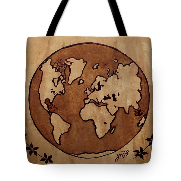 Abstract World Globe Map Coffee Painting Tote Bag