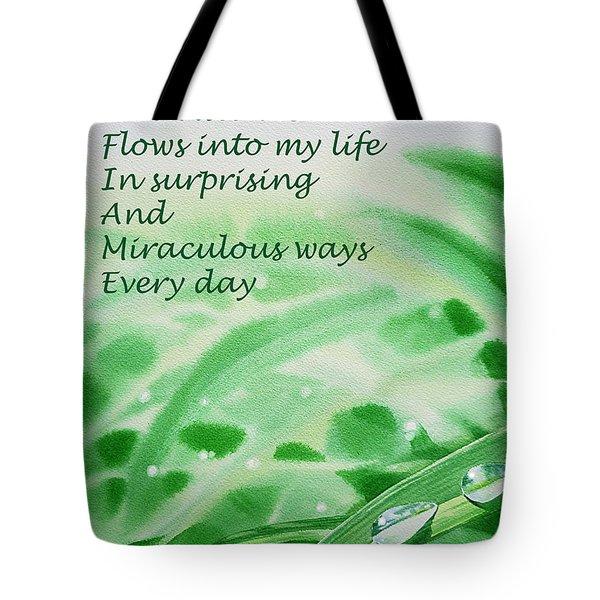 Abundance Affirmation Tote Bag by Irina Sztukowski