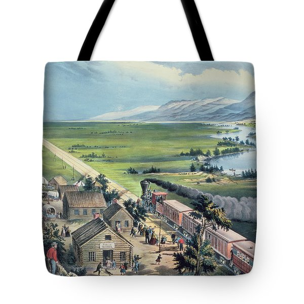Across The Continent Tote Bag by Currier and Ives