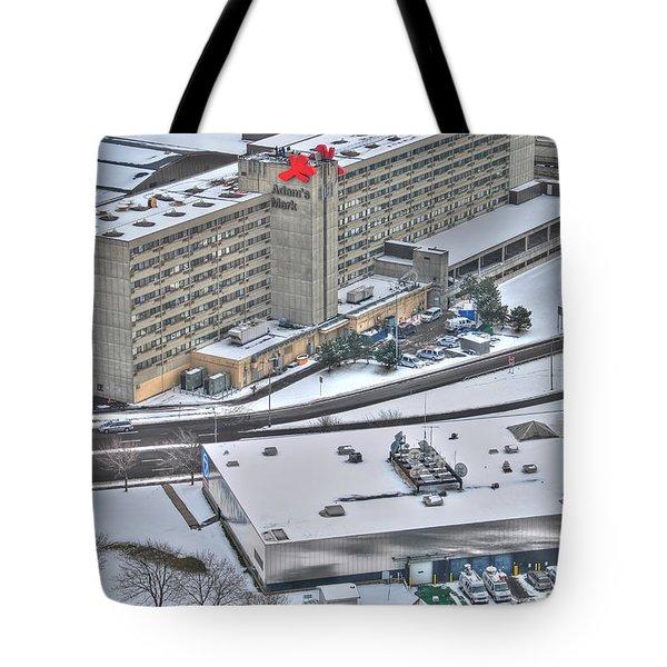 Adams Mark And Ch7 In Winters Blanket Tote Bag by Michael Frank Jr