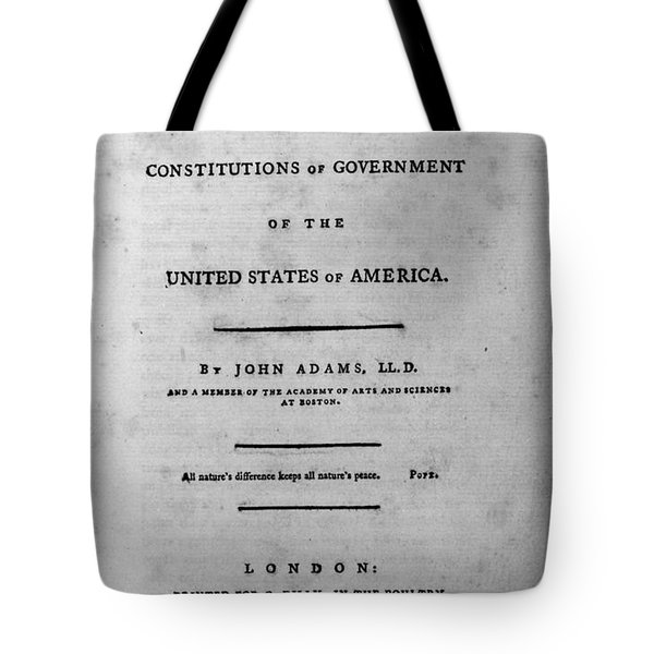 Adams: Title Page, 1787 Tote Bag by Granger