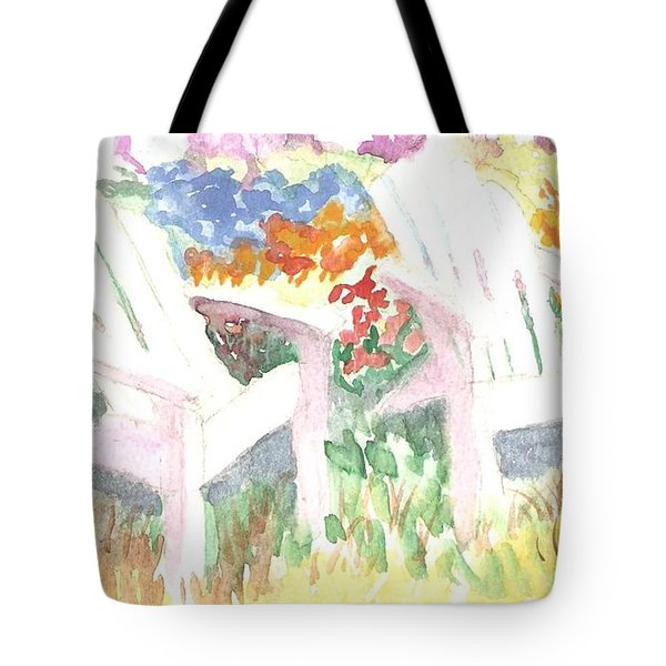 Adirack Chairs In The Garden  Tote Bag by Thelma Harcum