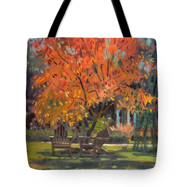 Tote Bag featuring the painting Adirondack Chairs by Donald Maier